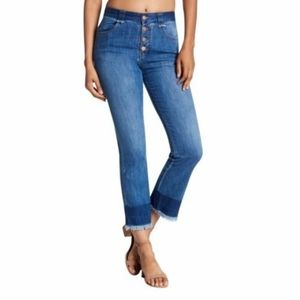 See by Chloe Button Fly Cropped Straight Jeans Distressed Ankle Raw Hem 28 Boho